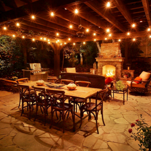 Patio and pergola and outdoor kitchen landscape lighting