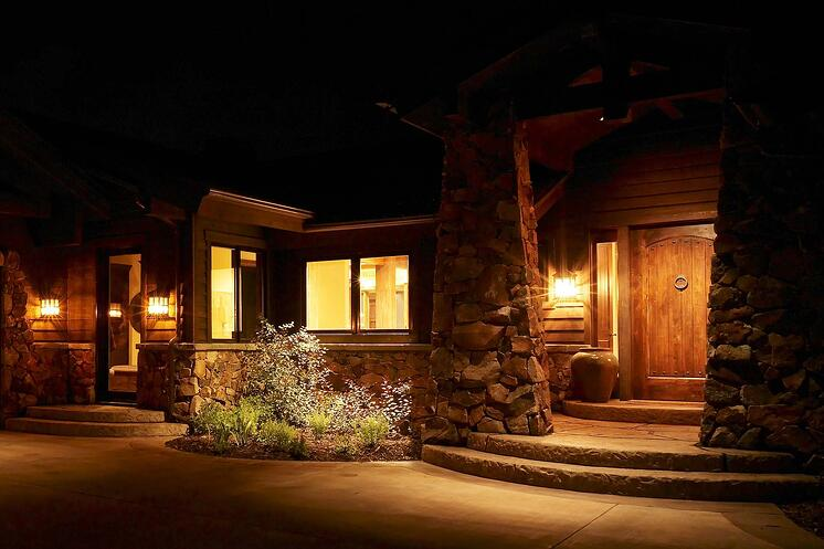 Keeping landscape lighting on dimmers 24/7 means your outdoor security lighting is beautiful, too