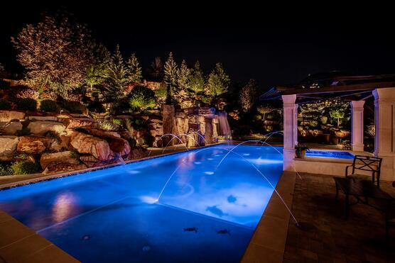 10 great ways to light a swimming pool this summer draper pond pool lighting outdoor living mozeypictures Choice Image