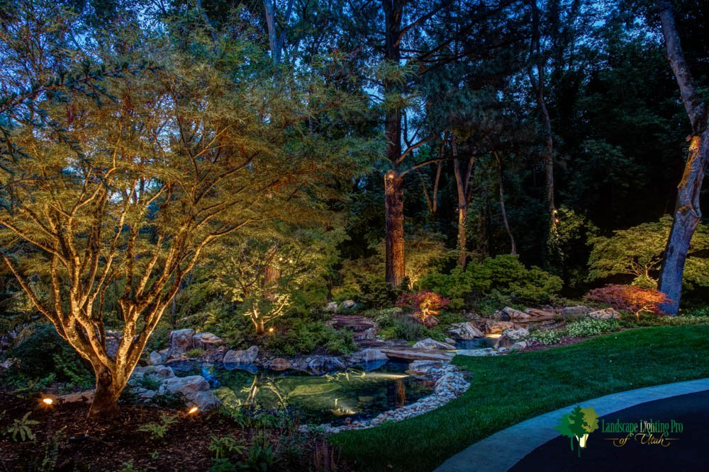 Pond-water-feature-tree-up-and-down-lighting-Holladay-Utah-2