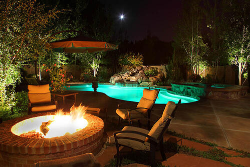 5 landscape lighting ideas for your swimming pool pool fire pit led landscape lighting sandy utah aloadofball Images