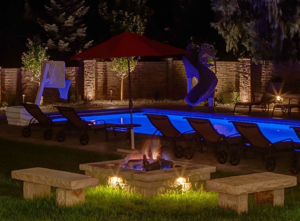 Accent lighting fire pit features aloadofball Choice Image