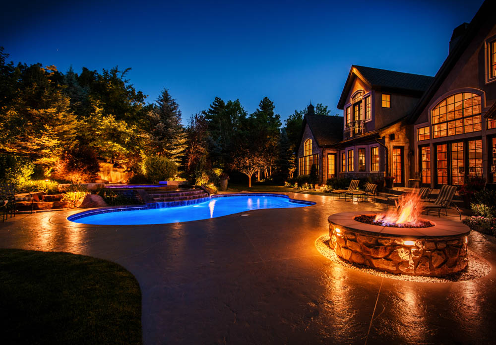 Night Patio Pool  Firepit Hardscapes Lighting