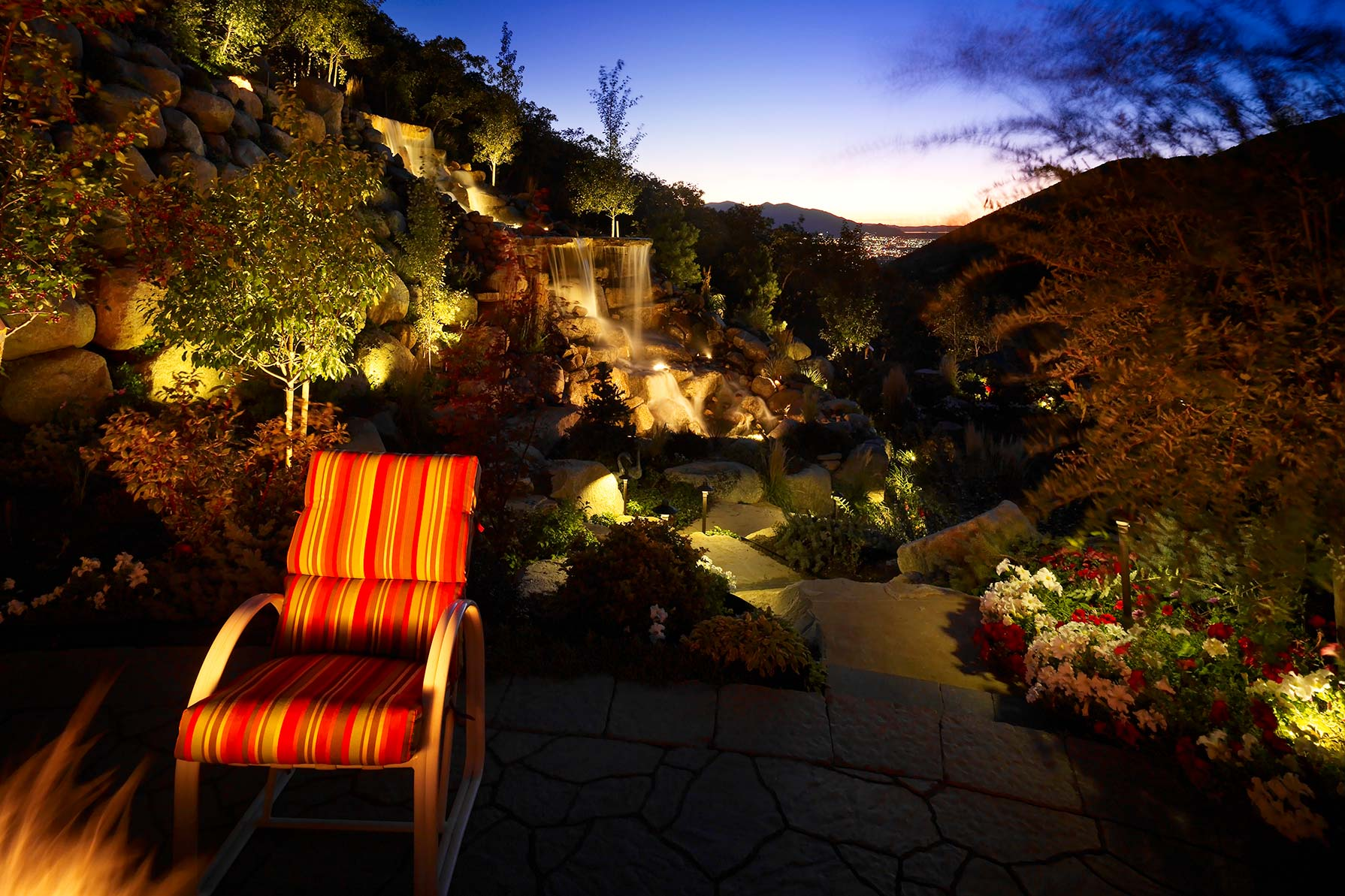 waterfall-and_water-feature-pathway-patio-lighting-salt-lake-city