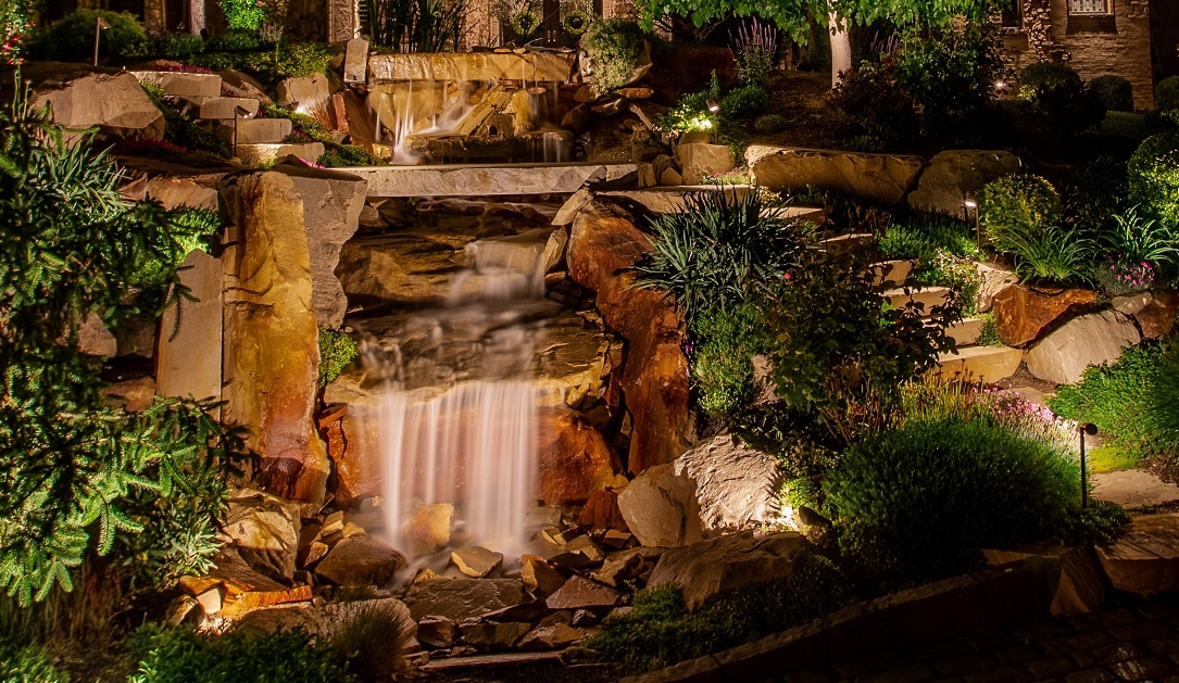 pond-and-waterfall-feature-wash-pathway-lighting-salt-lake-city