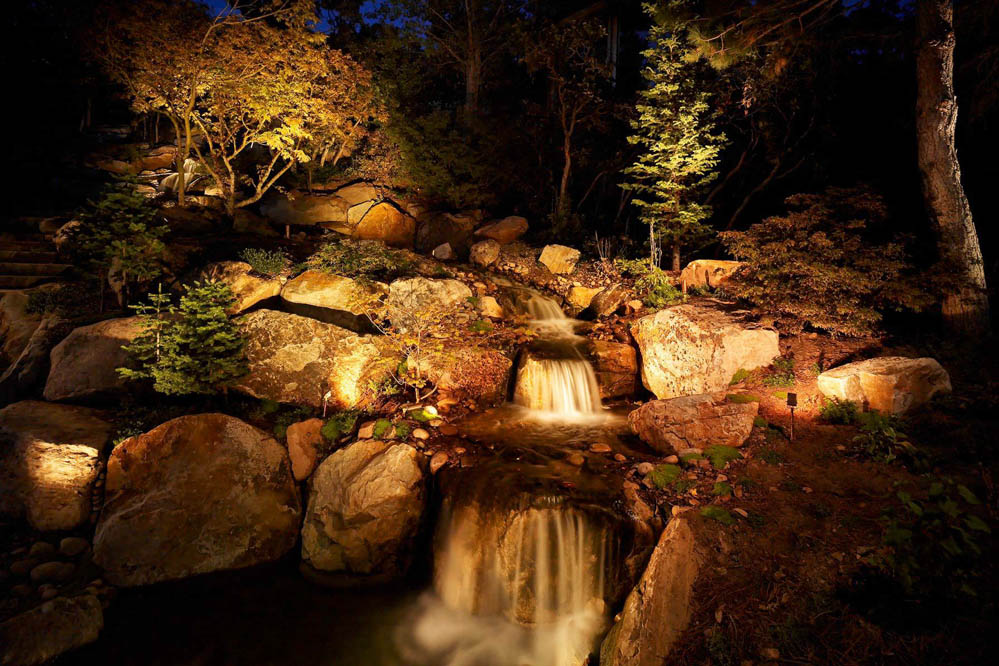 Waterfall lighting ideas